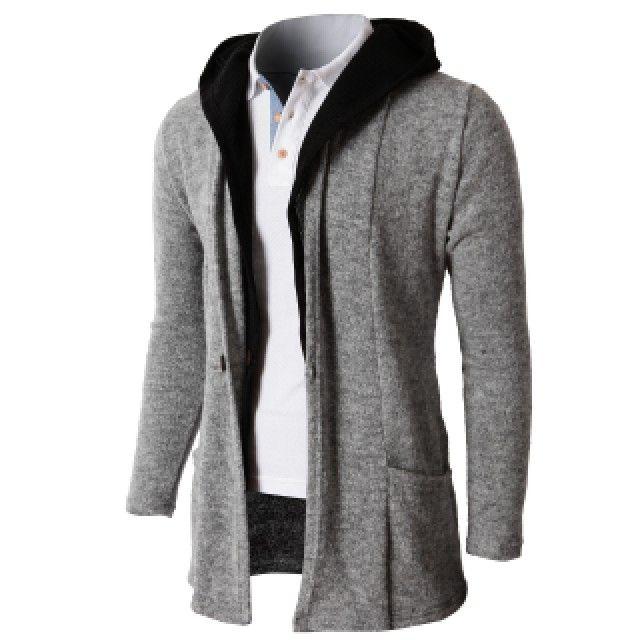 Doublju Men s Hoodie Cardigan Sweater With Two Tone Color Hoodie (KMOCAL074) 453ab2b4688
