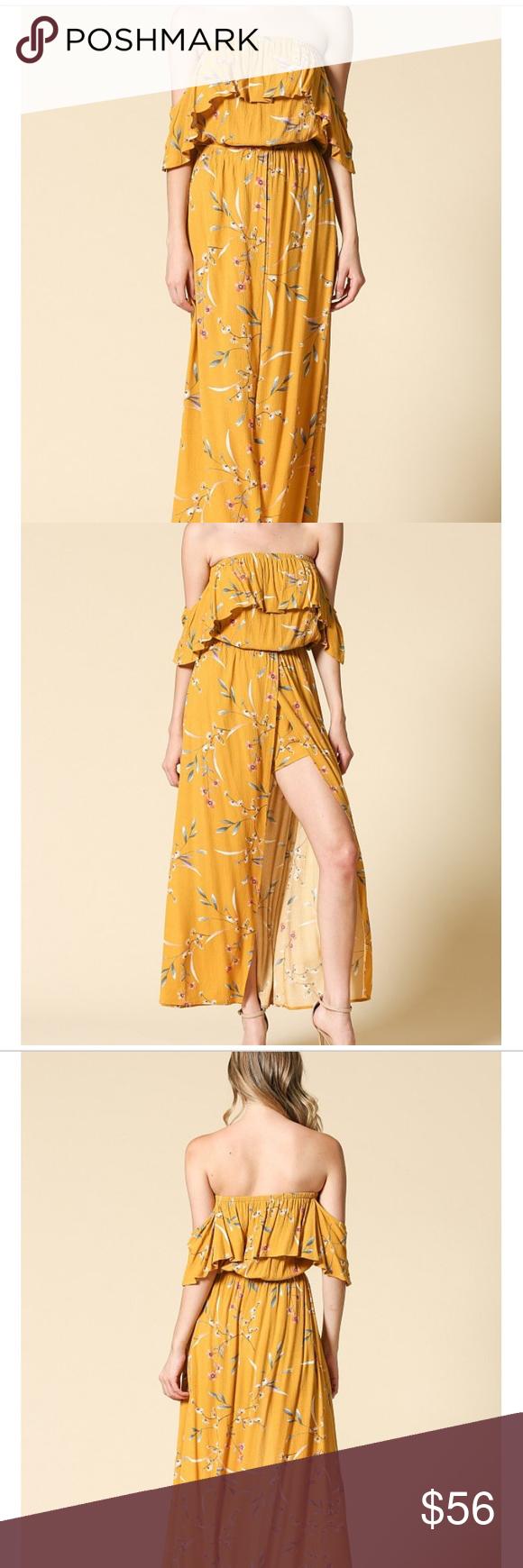 Ildlmustard floral maxi dress a floral print offthe