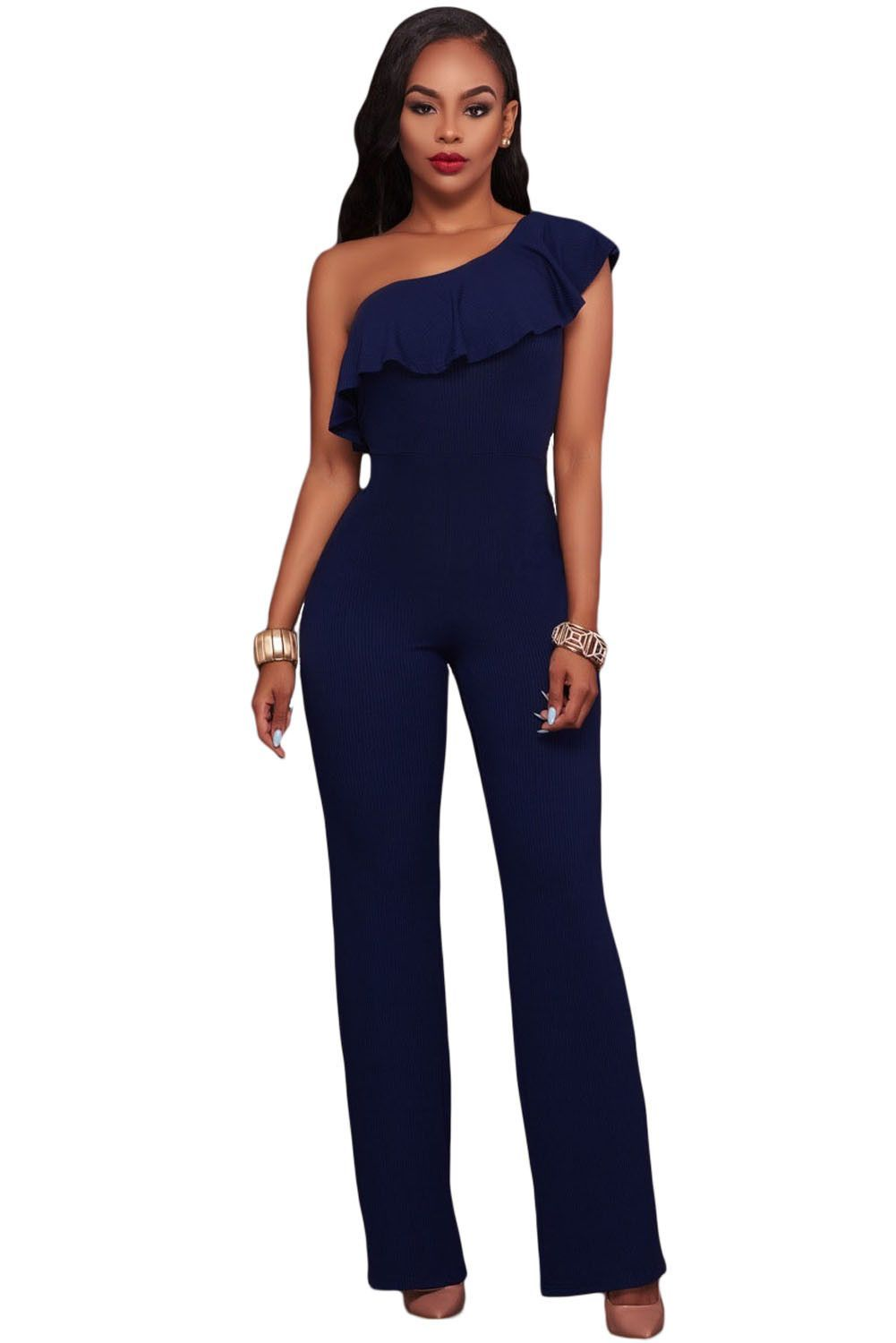 a21b27023ee9 Navy Blue One Shoulder Ruffle Jumpsuit in 2019