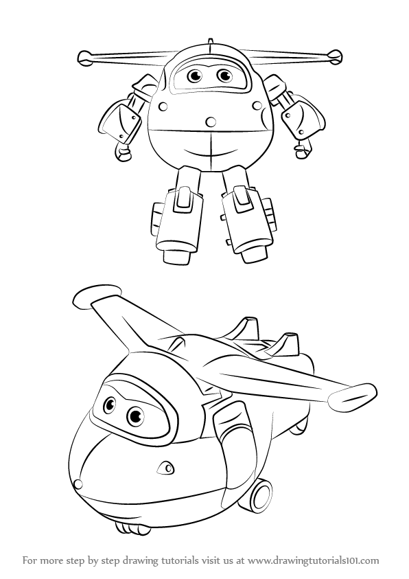 Learn How To Draw Jett From Super Wings Super Wings Step By Step