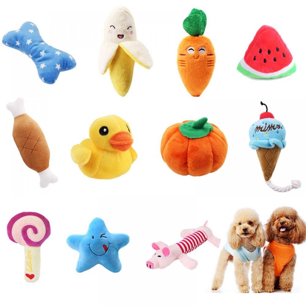 Interactive Dog Toys Exercise pawstrip 1pc Plush Dog Toys Squeaky Bone Ice Cream Carrot Puppy Chew Toy Interactive Cat Toys Pet Dog Sound Toys For Small Dogs - Petnr
