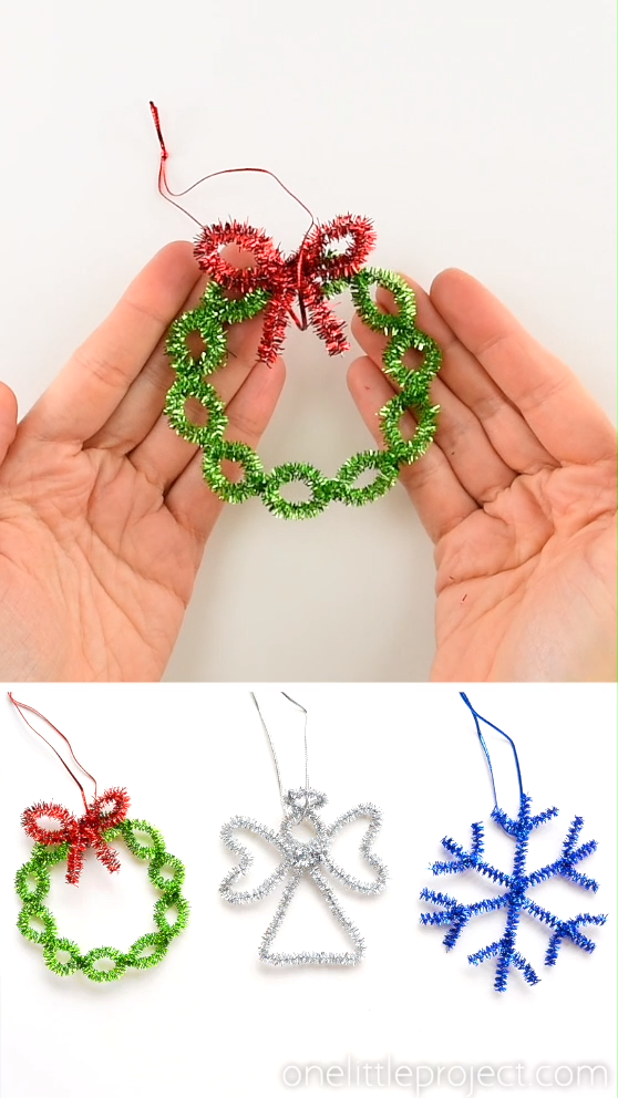 Easy Pipe Cleaner Wreath Ornaments- Christmas ideas #Christmas #Cleaner #Easy #ideas #ORNAMENTS