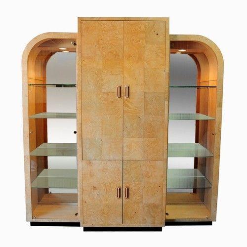Art Deco Kitchen Cabinets: Vtg Henredon Scene Two Burl Wood China Display Cabinet Art