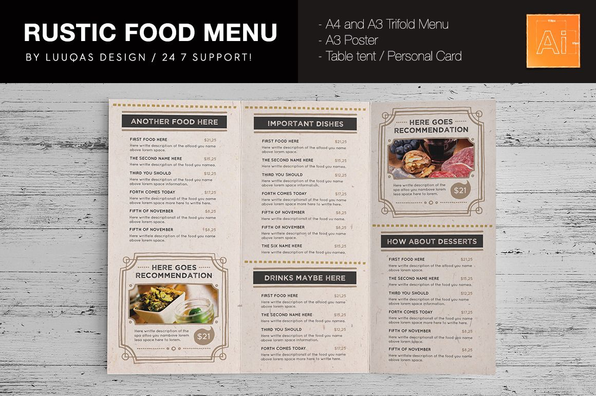 rustic food menu template for your restaurant features a4 tri