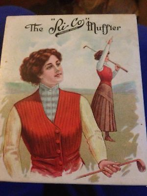 Vtg vintage ri-co RI Co Muffler 1911 in Box Black Mint Victorian Scarf Woman Golf Advertising | eBay