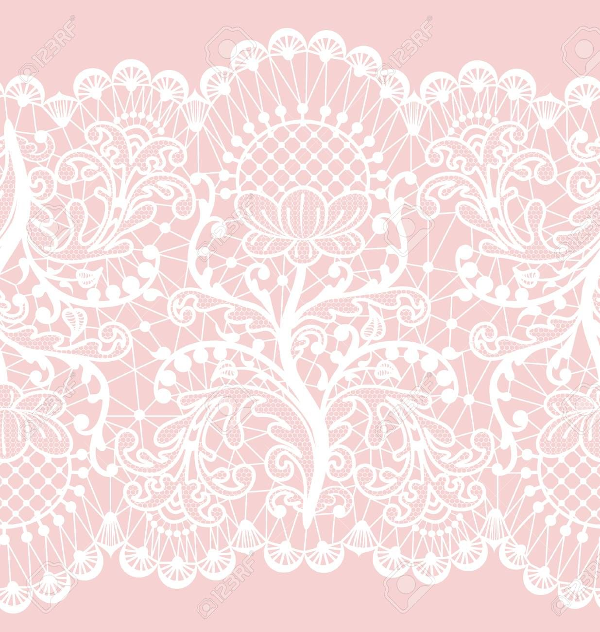 Horizontally Seamless Pink Lace Background With Floral Pattern