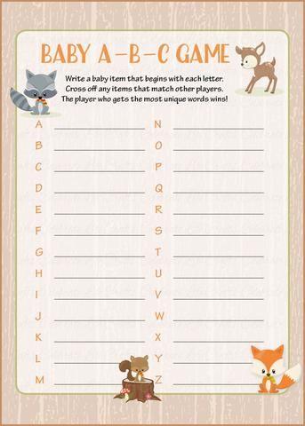 Alphabet Baby Items : alphabet, items, PRINTABLE, DOWNLOAD, Forest, Animals, Woodland, Shower, B18002, Woodland,, Theme,