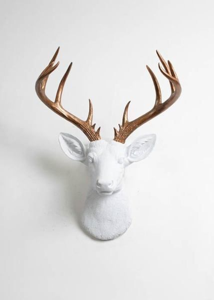 The Xl Lydia White Deer Head Wall Mount W Bronze Antlers Faux