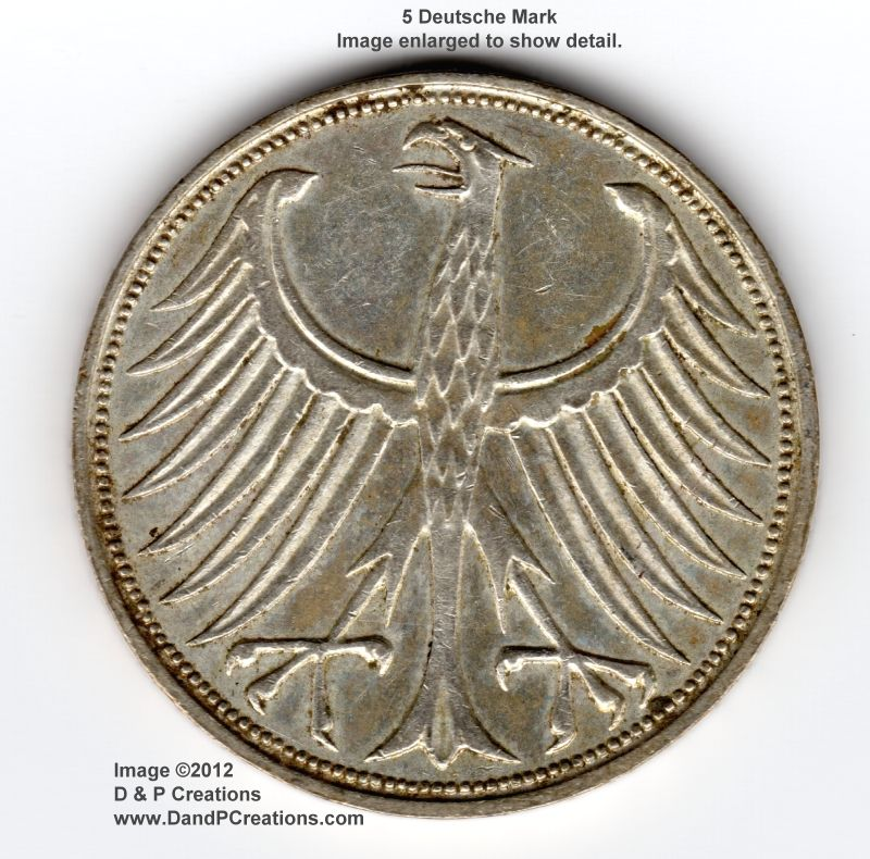 5 Deutsche Mark coin, 1966 J (German) This coin is from my