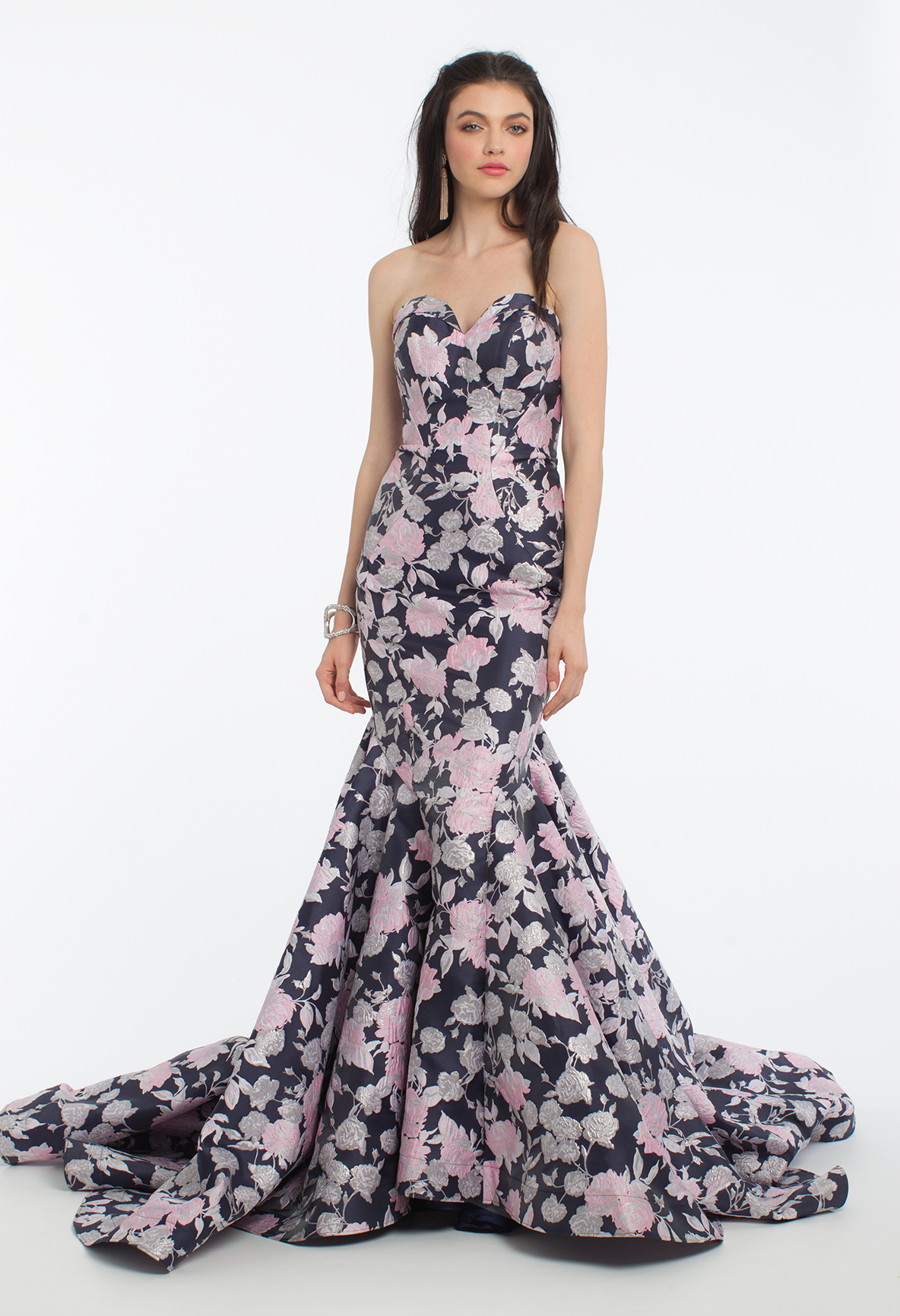 Be a garden printcess with this long prom dress the strapless