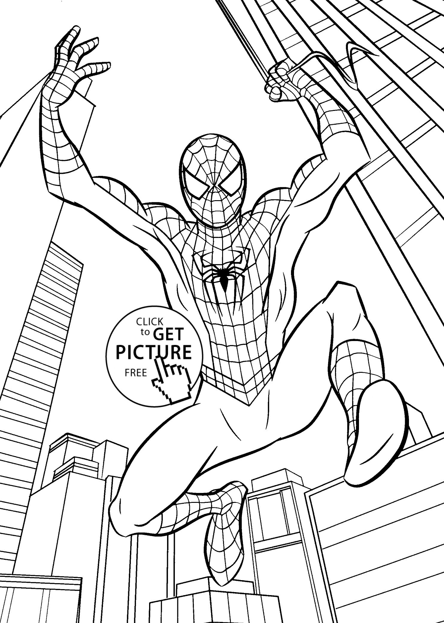 Marvelous Image Of Free Spiderman Coloring Pages Kids Projects