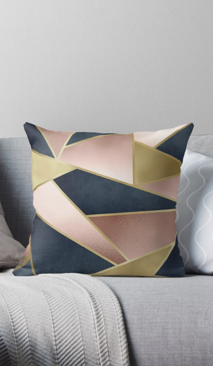 Geometric Rose Gold Pink Gold And Navy Blue Abstract Pattern
