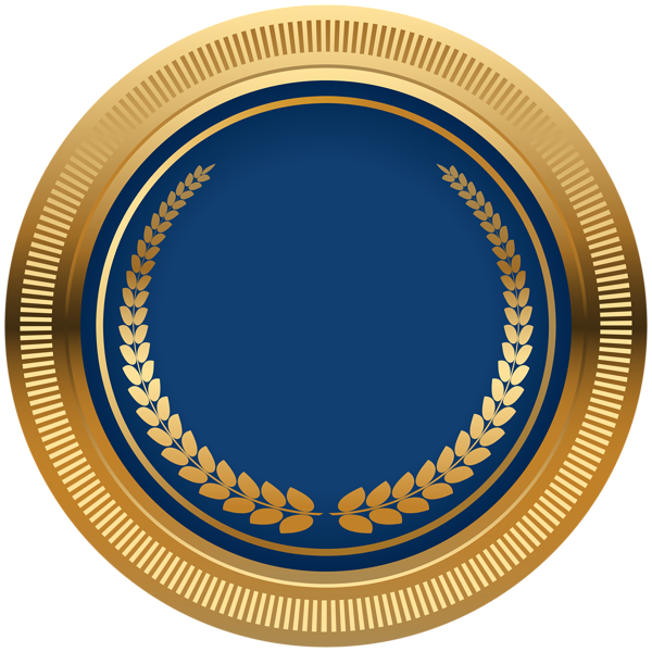 Blue Gold Seal Badge PNG Transparent Image Page borders