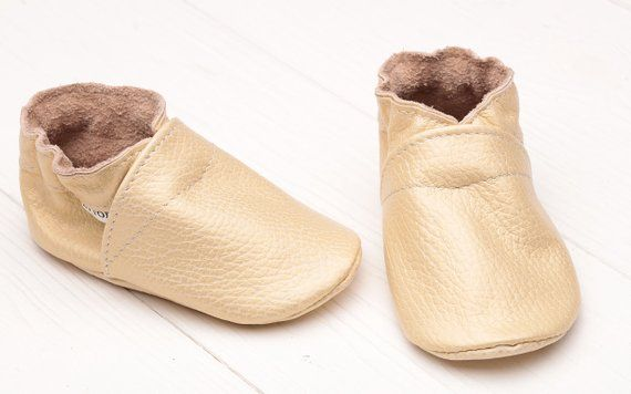 2a1d36743322e Beige-Yellow Baby Shoes with Mother-of-pearl, Leather Baby Shoes ...