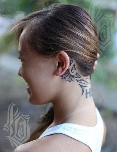 959172d122426 Polynesian Tattoo behind the ear. Love this! #polynesian #tattoo ...
