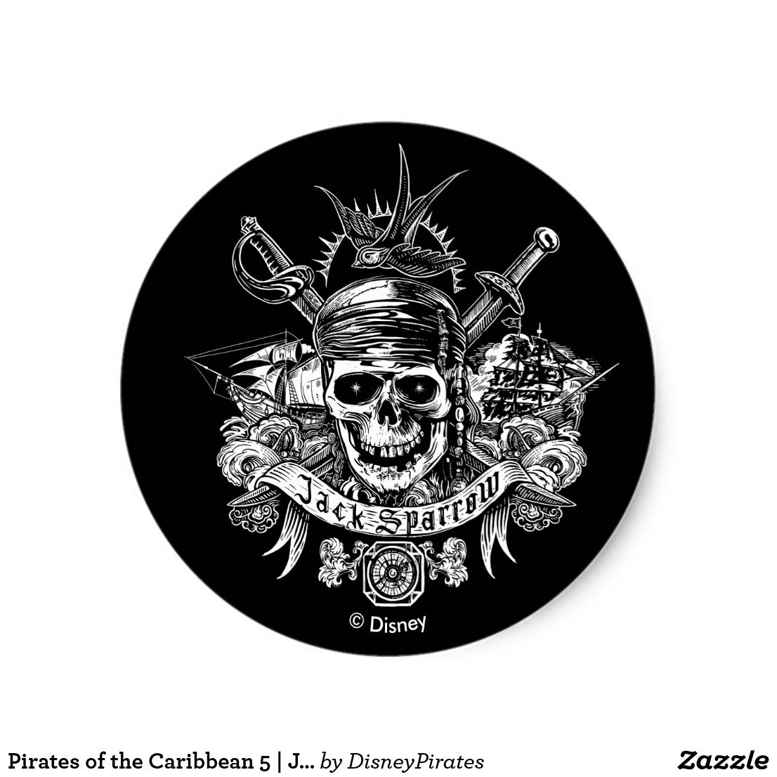Pirates Of The Caribbean 5 Jack Sparrow Skull Classic Round