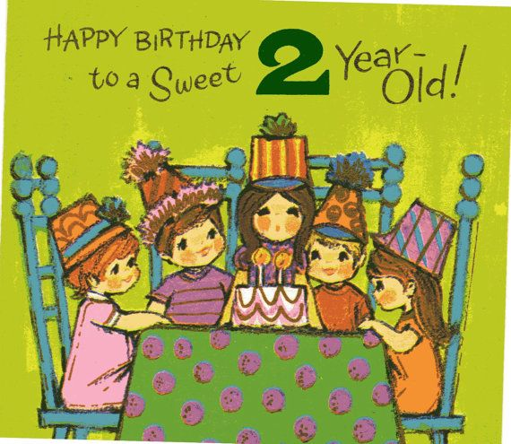 Vintage Birthday Card For Two 2 Year Old By VintagePartyPaper