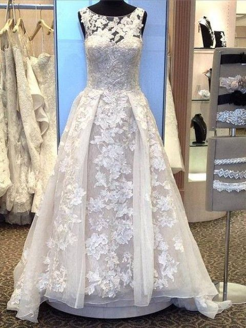 Used Oleg Cassini Tank Lace Ball Gown With Beaded Applique Wedding