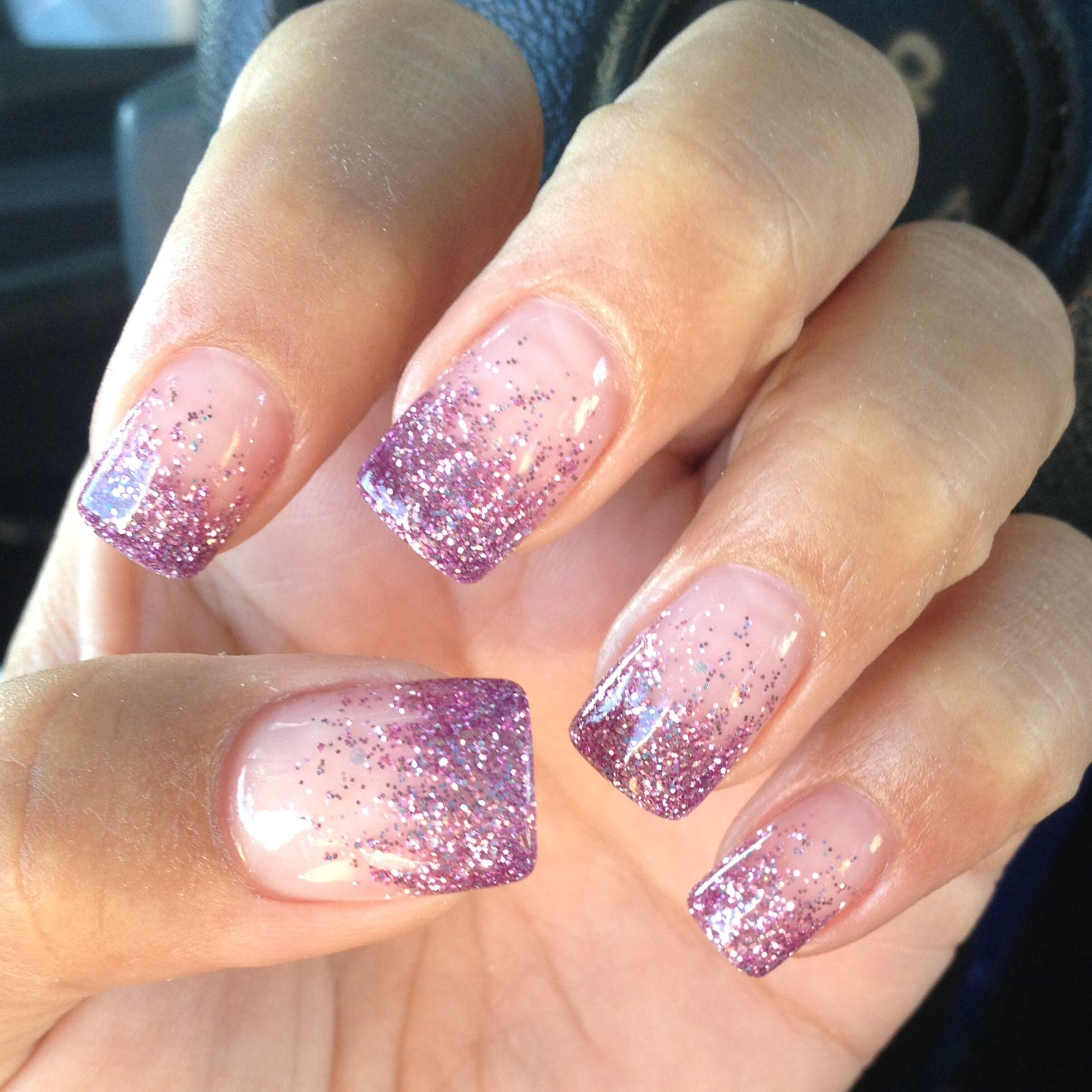 Fashion Beauty Zone: Purple Sparkle Gel Powder With Pink Powder Acrylic Set