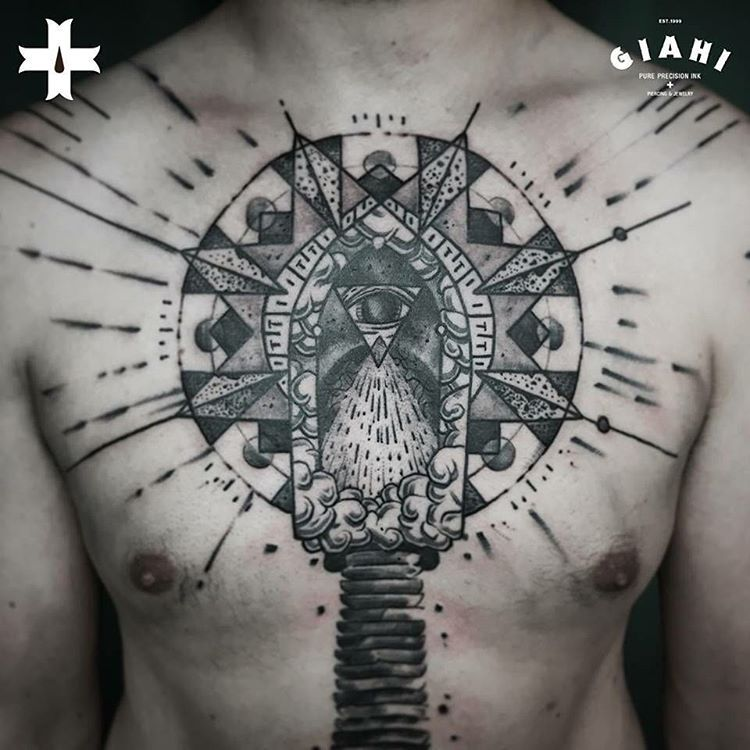 Chest Piece Tattoo | Dotwork tattoo style | Pinterest | Chest piece ...