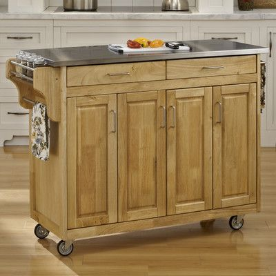 August Grove Regiene Kitchen Island with Stainless Steel Top Base ...