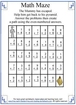 Math Maze 3 Addition Highlight The Even Numbered Facts To Help The Mummy Get Back To His Pyramid Math Maze Basic Math Skills Maze Worksheet