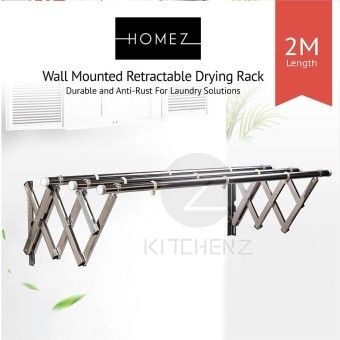 Shop Homez Anti Rust Stainless Steel WallMount 3 Layer Retractable