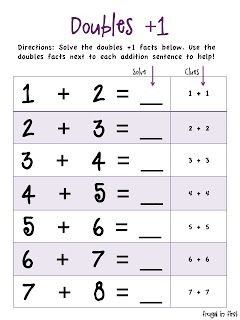 Worksheets Double Facts Worksheet a simple practice page for both doubles facts and plus one heres working on 1 facts