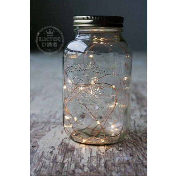 Rustic vintage wedding lights for mason jars. 2m Fairy Lights Fall Wedding Mason Jar Lights by ElectricCrowns