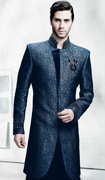 Rich Navy Blue Fancy Indo Western Suit Mens Fashion