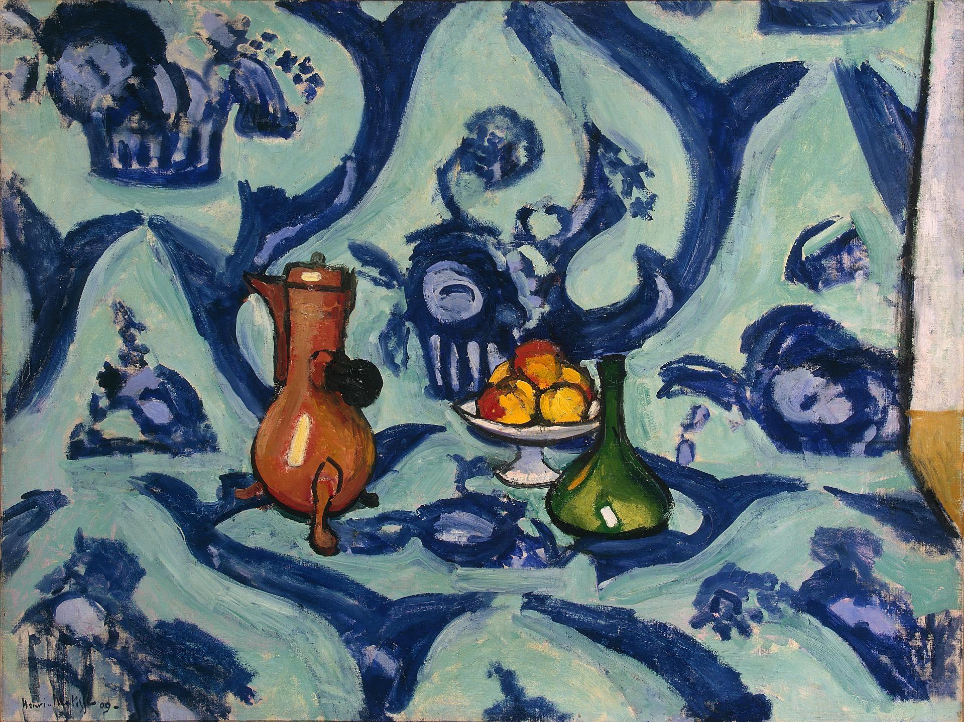 Картинки по запросу матисс натюрморт с голубой скатертью