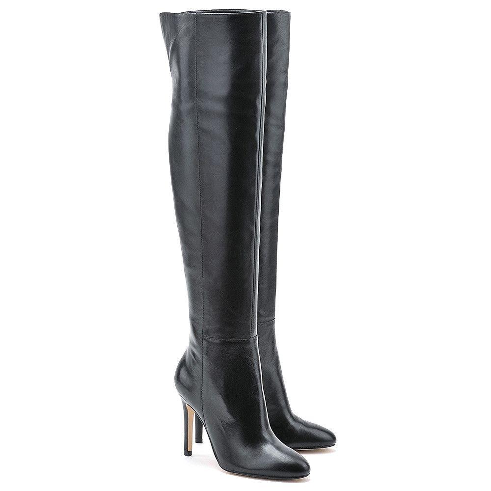 Guess Elbrid Czarne Skorzane Kozaki Damskie Buty Kobiety Kozaki Mivo Boots Heels Stiletto Boot