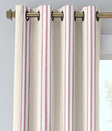 French Ticking Grommet-Top Curtains