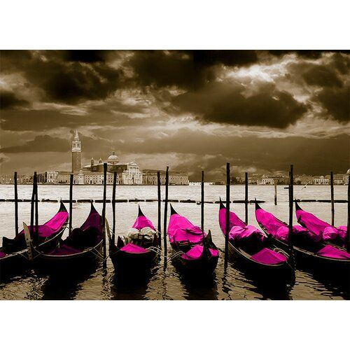 Glasbild Around The World Venice Grafikdruck In Magenta East