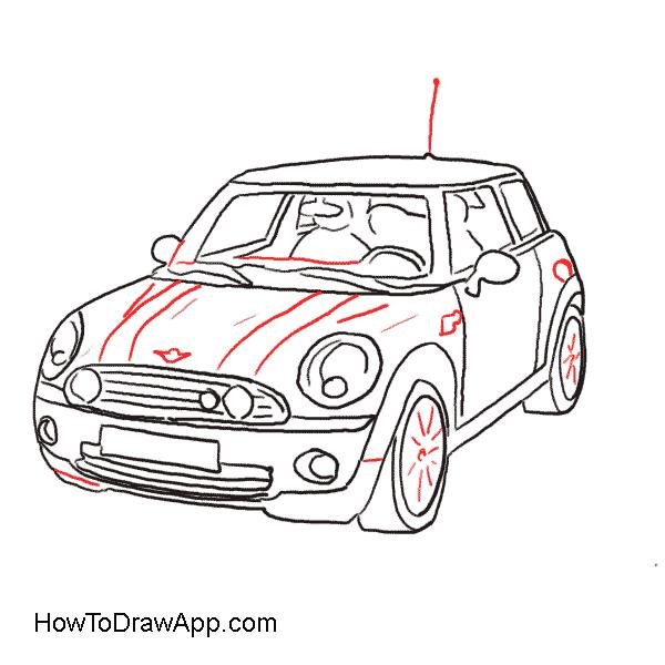 how to draw a car mini cooper classic