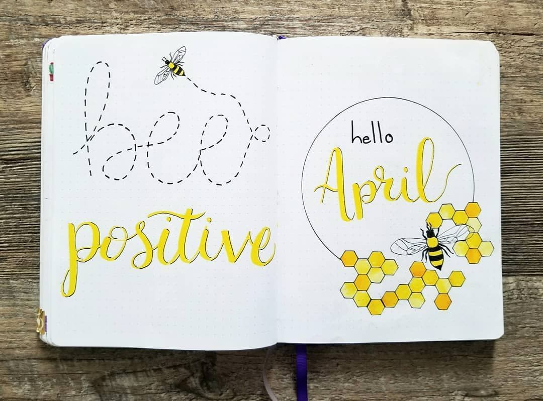 Bullet journal monthly cover page, April cover page, bee drawing ...