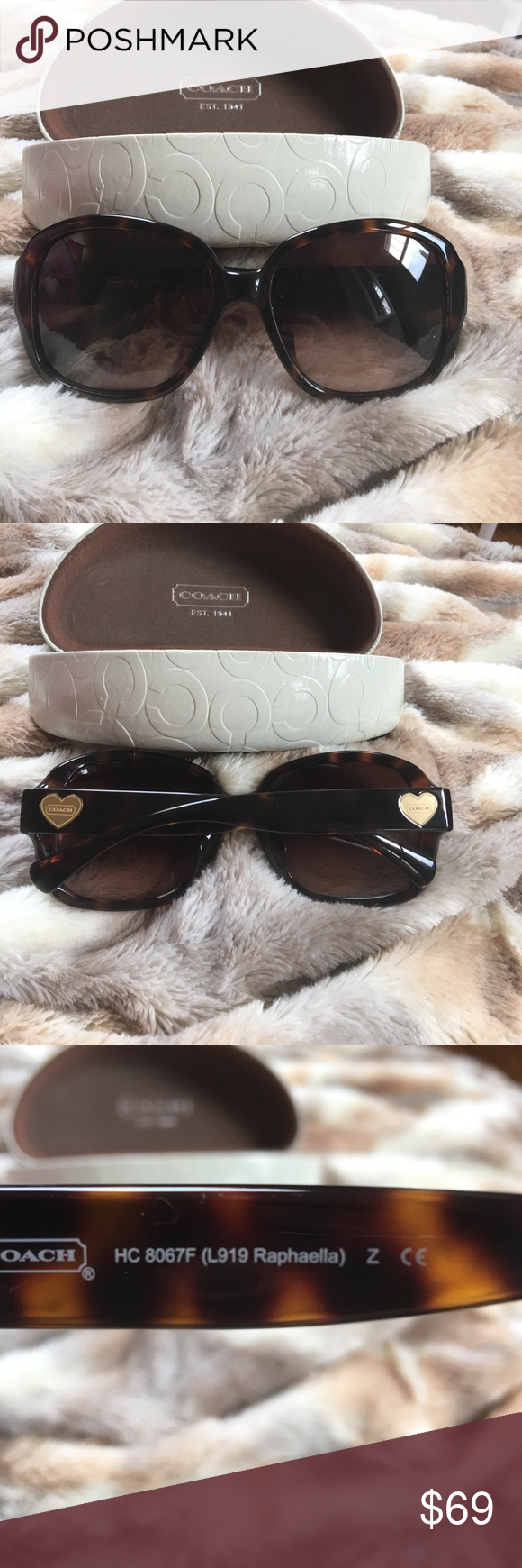 4358f097c32 NEW Coach Raphaella Tortoise Sunglasses Heart Logo RAPHAELLA SUNGLASSES by  COACH TORTOISE 100% UV protection Gradient lenses and Gold Heart Logo on  both ...