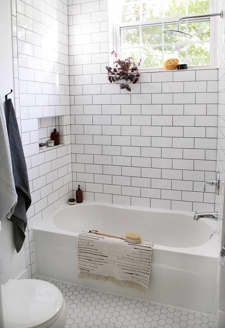 Beautiful Farmhouse Bathroom Remodel from Small Closet | Grey grout ...