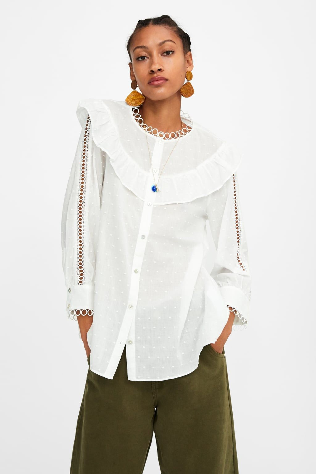fccb1896c3 Dotted mesh blouse in 2019 | Zara | Blouse, Shirt blouses, High ...