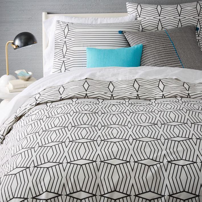 Organic Diamond Stripe Duvet Cover Shams Striped Duvet Covers