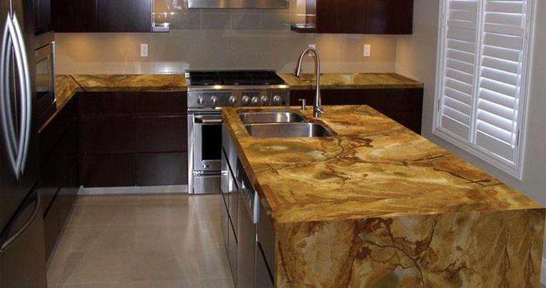 Stone Wood Granite Kitchen Countertop Island Finished
