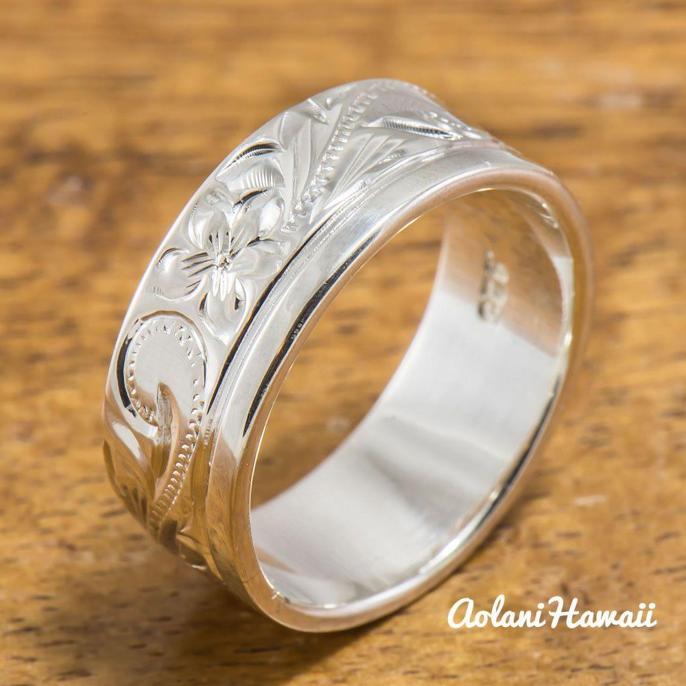 Hawaiian ring hand engraved sterling silver barrel ring mmmm