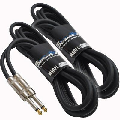 """Seismic Audio - 10 Foot 1//4/"""" to 1//4/"""" Speaker Cables 2 Pack PA DJ Patch Cords"""