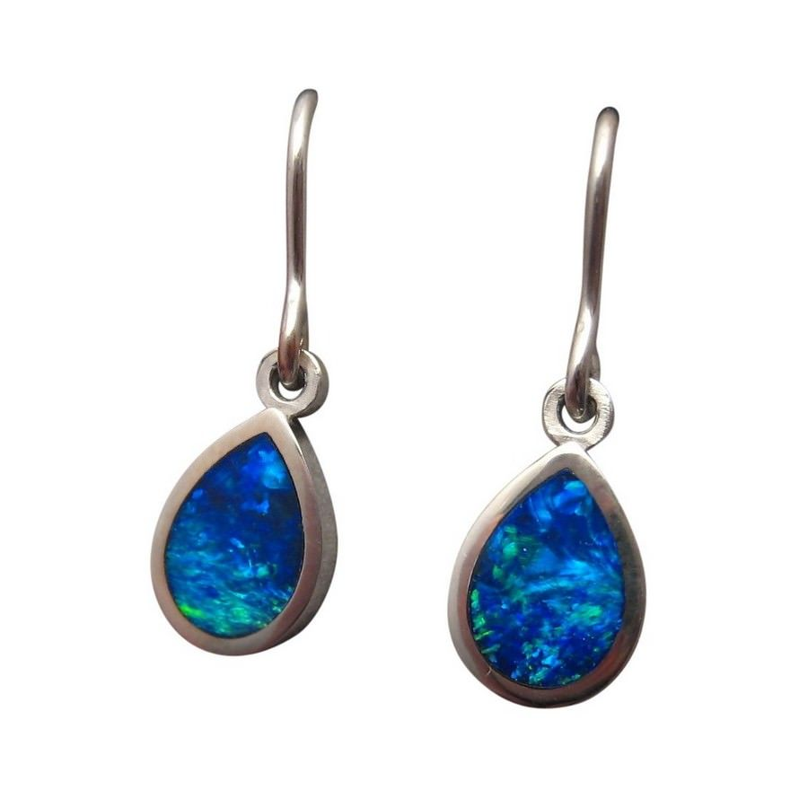 Blue Opal Earrings 14k White Gold