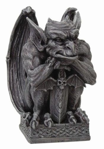 Winged Gargoyle Warrior Guardian With Bat Sword And Shield Figurine 7 H Statue Gothic Gargoyles Statue Gargoyles
