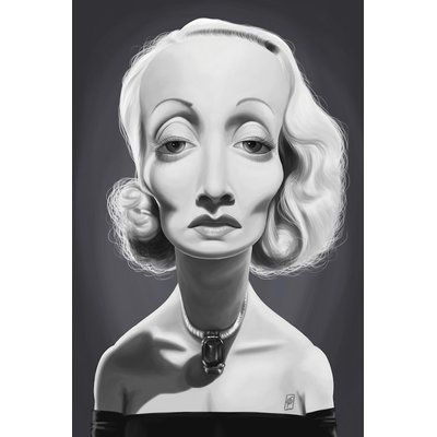East Urban Home 'Vintage Celebrity Sunday Series: Marlene Dietrich' Graphic Art Print on Canvas | Wayfair