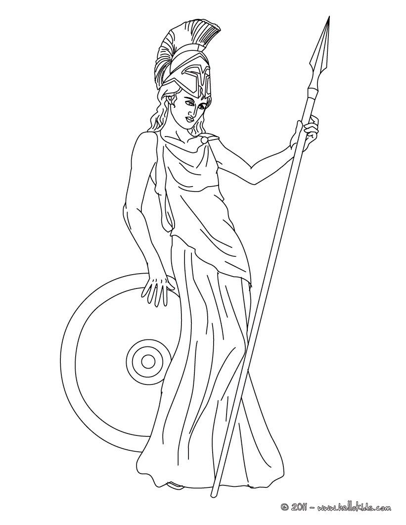 Desenho Da Atena Deusa Grega Da Libertade Para Colorir Com