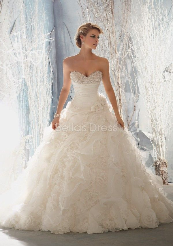 Organza Sweetheart Cathedral Train With Pick ups Ball Gown Dramatic ...