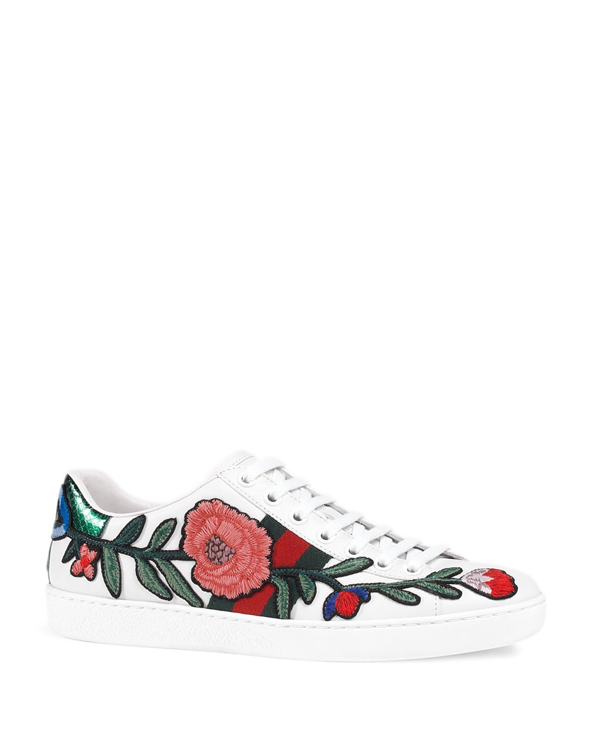 Ace Embroidered Lace Up Sneakers Gucci