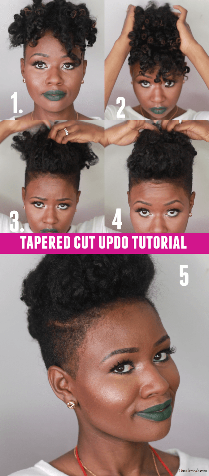 super easy natural hair tapered cut updo+ rootedtreasure jamaican